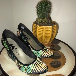 Anne Klein Sport AKTRU Black Multi Wedge Sandals